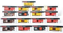 17 Lionel modern O gauge freight cars 19217 Burlington, 19215 Union Pacific, 19218, 19216, etc