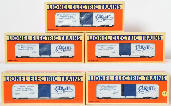 5 Lionel Carail TTOS Boxcar, 52053