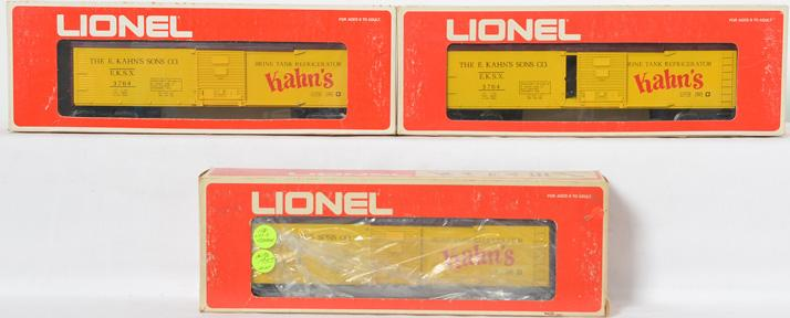 3 Lionel LOTS Kahns Brown Roof Reefer, 3764