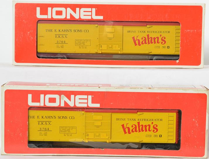 2 Lionel LOTS KAHNS Red Roof reefer, 3764