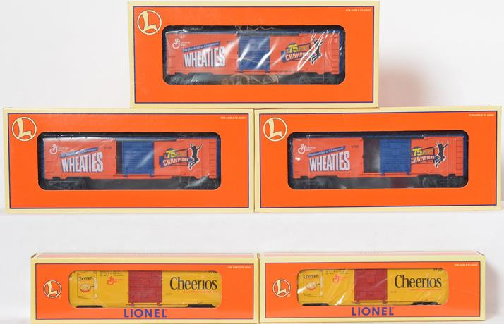 Lionel Cereal Cars, 3 Wheaties 75th Anniversary & 2 Cheerios Boxcars, 26257, 26216