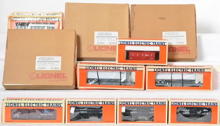7 Lionel Ford Freight Cars and 4 TTOS Ford Series freight 4pk 16256, 16916, 16557, 52028