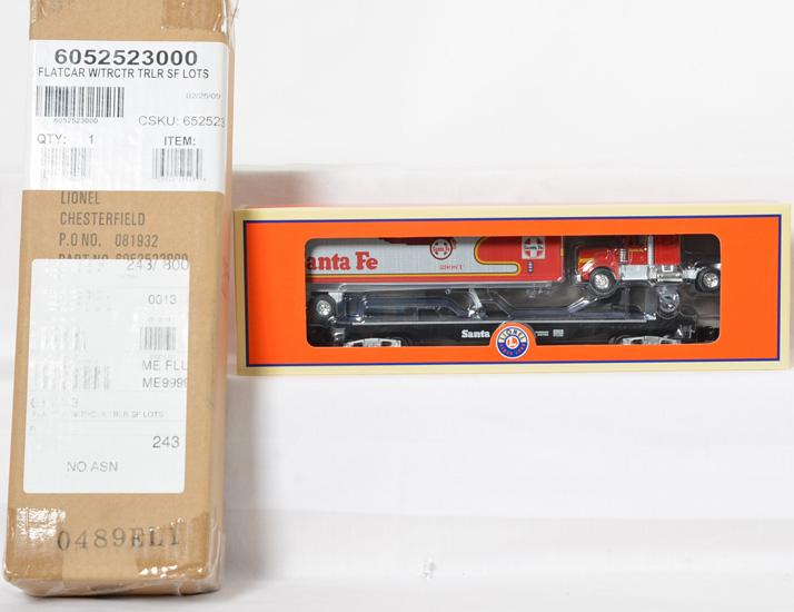 2 Lionel LOTS 08 Santa Fe Warbonnet flat car with tractor trailer, 52523