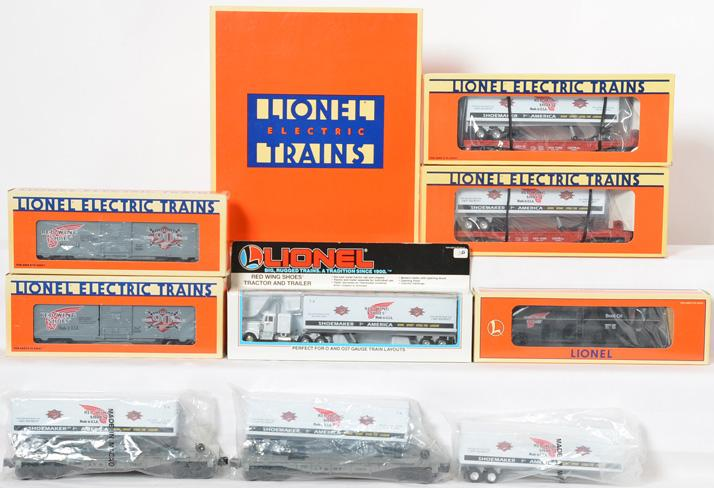 12 Lionel Red Wing Shoes Freight Cars, 52137, 16264, 16953, 12923, 16940, 16264