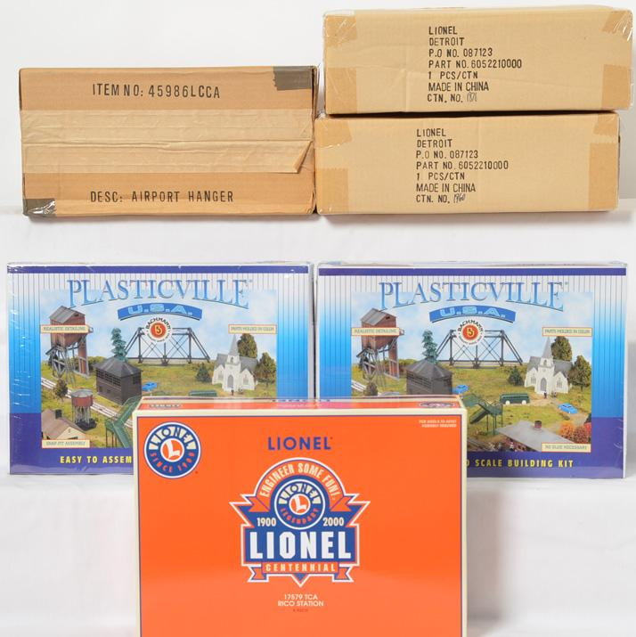 3 Lionel 52210 RIco Station Kits and 4 Bachmann Plasticville LCCA Airport Hangar Kits
