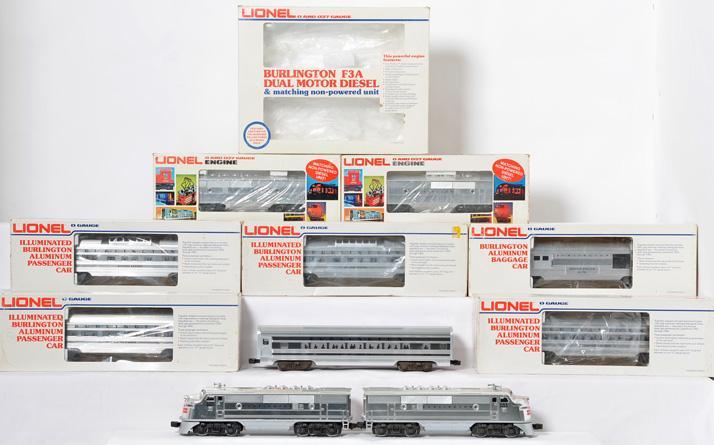 Lionel Burlington F3 ABBA and Passenger Set, 8054, 8062, 9576-80, 9588