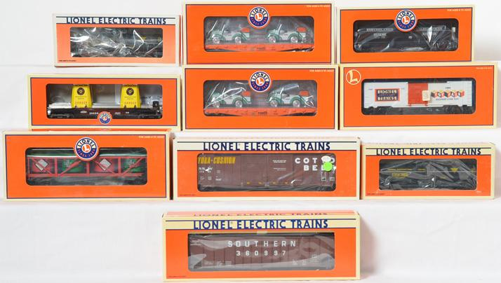 10 Lionel Freight Cars, 17203, 29412, 17572, 19977, 19603, 52552