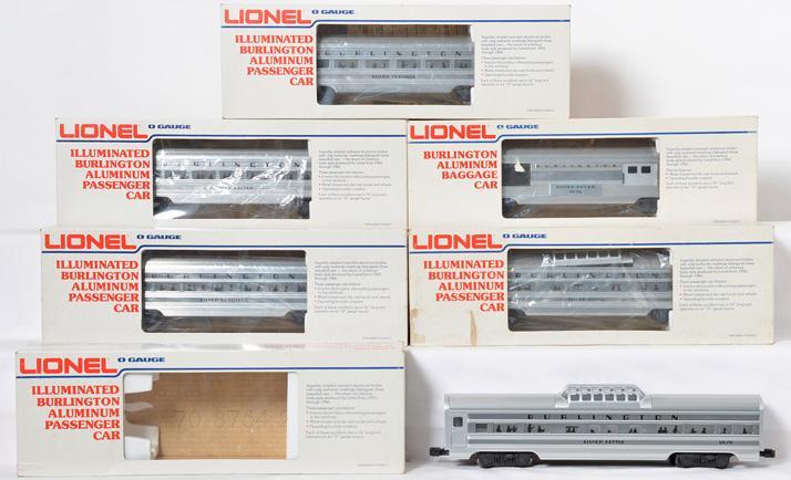 6 Lionel Burlington passenger cars 9588, 9576-9580