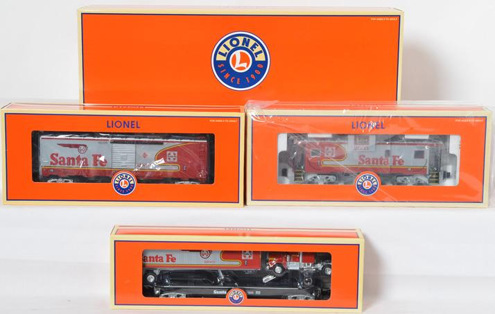 Lionel LOTS Santa Fe Warbonnet SD-80, 52347 and 3 Freight Cars, 52323, 52382, 52477