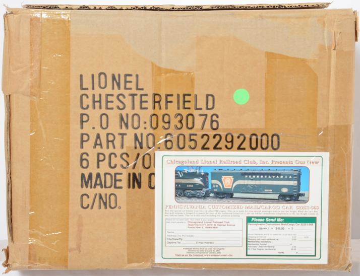 6 Lionel Chicagoland Lionel Railroad Club Pennsylvania Standard O Reefer, 52251