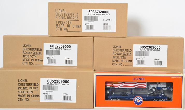 5 Lionel Freight Cars, Patriotic Tank Car, 52309, and Fouth of July Boxcar, 36769