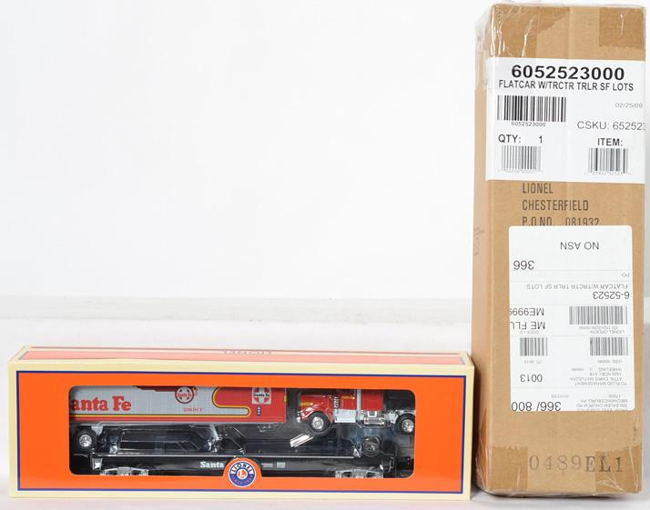 2 Lionel LOTS Santa Fe Warbonnet Flat Car with Tractor Trailer, 52523