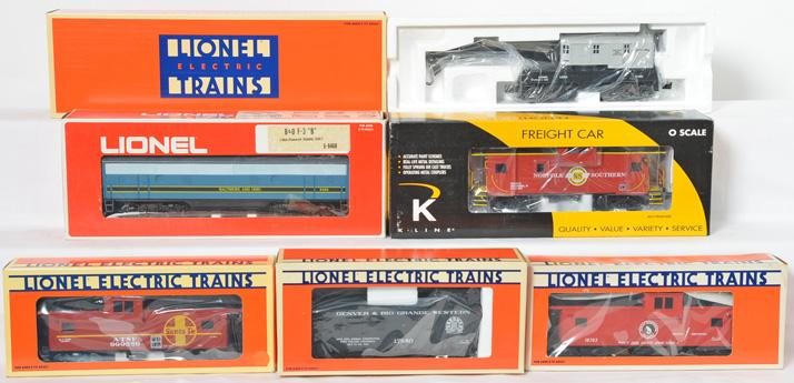 Lionel B&O B unit, Lionel Lines Crane Car, ATSF Caboose, D&RG Caboose, K Line NS Caboose