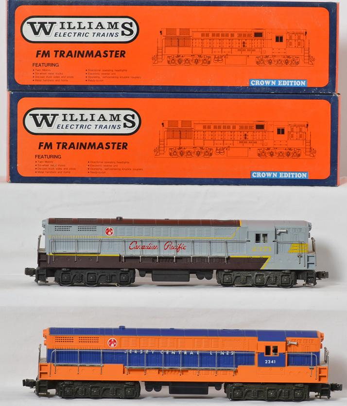 2 Williams FM Trainmasters, 4105 Jersey Central, 4106 Canadian Pacific