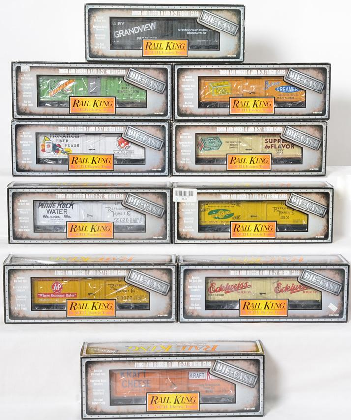 10 Railking die cast reefers Monarch, Edelweiss, White Rock, etc.