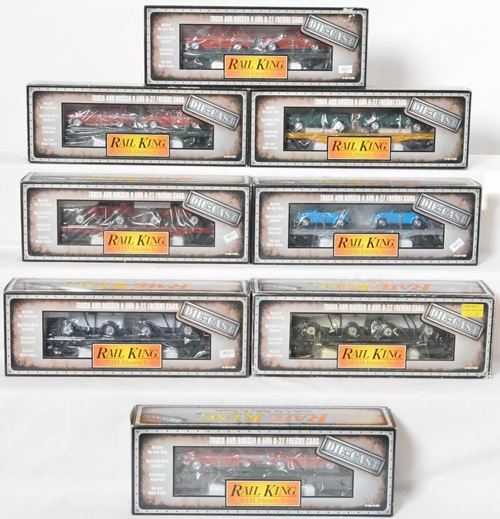 8 die cast Railking flat cars with vintage vehicles 8312, 8310, 8303, etc