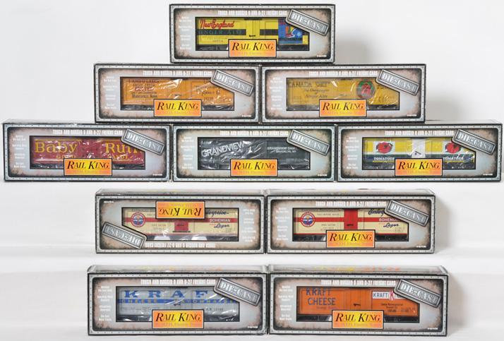 10 die cast Railking reefers Canada Dry, Kraft, Baby Ruth, etc