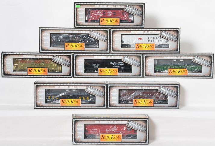 9 Railking die cast cabooses, hoppers, and gondolas Rio Grande, CSX, Pennsylvania, LV, etc