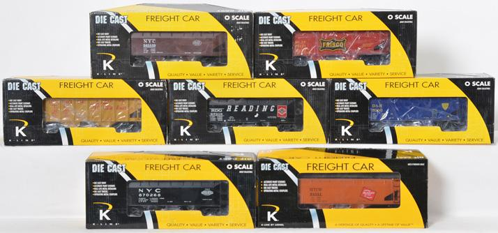 7 K Line die cast two bay coal hoppers, NYC, D&H, UP, Milwaukee Road, Frisco, etc