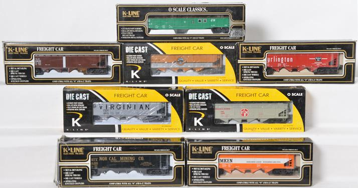 8 K Line die cast hoppers and gondola Timken, Baltimore and Ohio, Conrail, etc