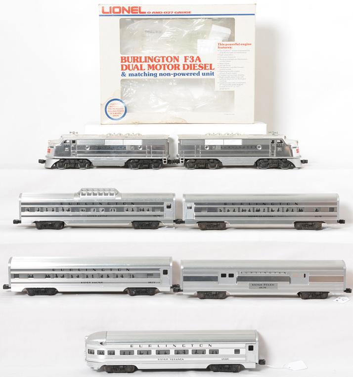 Lionel Burlington passenger set 8054, 9578, 9577, 9579, etc