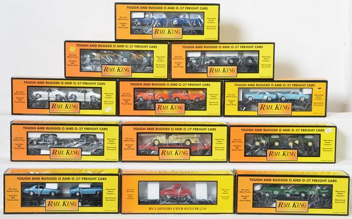 12 Railking Flatcars with Auto Loads, 7670, 7647, 7662, 7617, 7634, 7671