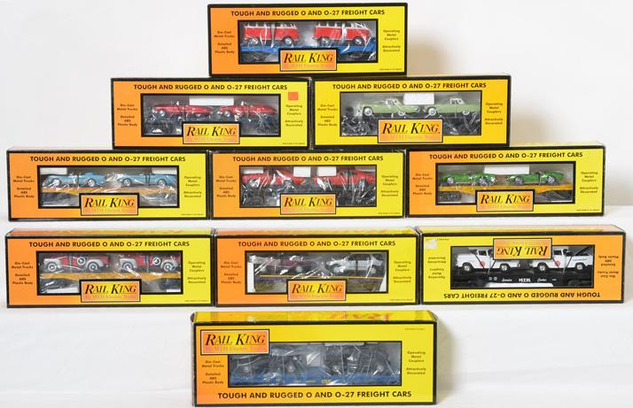 10 Railking Flat Cars with Vehicle Load, 76270, 7613, 7640, 76034, 76121, 76120