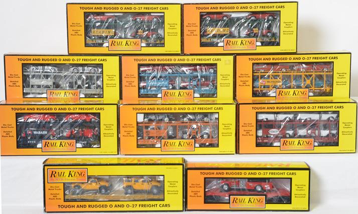 10 Railking Flat Cars with Vehicle Loads, 76309, 7656, 7667, 76031, 76290, 76089
