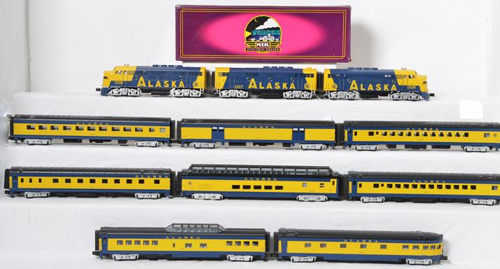 MTH Alaska F-3 ABA with Proto and Passenger Car Set,20-2128, 6518, 6618