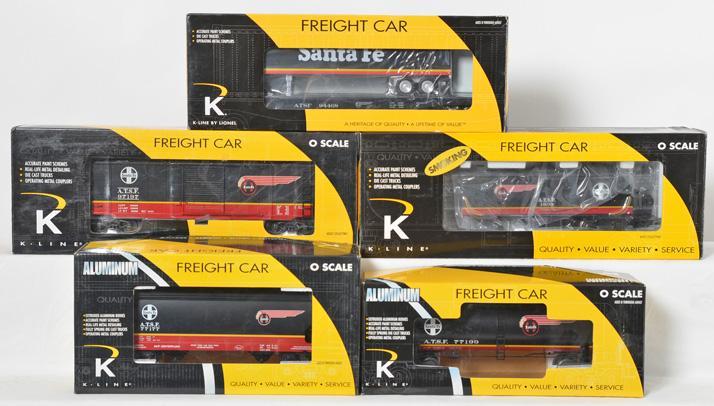 5 K Line Santa Fe Black Bonnet Freight Cars, 6-21591, 6332-10514, 761-1051, 6242-1051, 617-1055