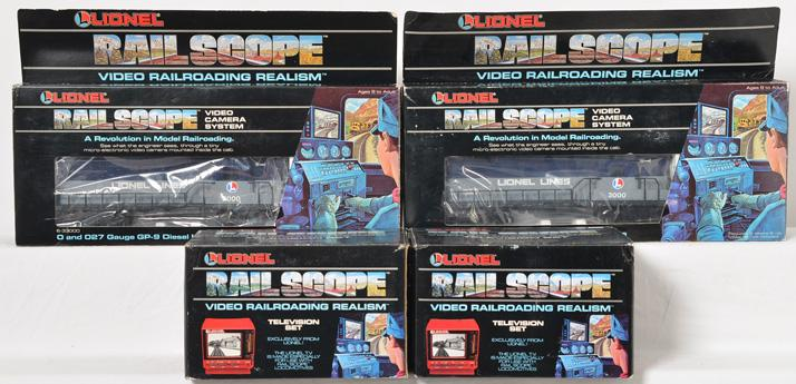 Two Lionel Railscope locomotive and television sets