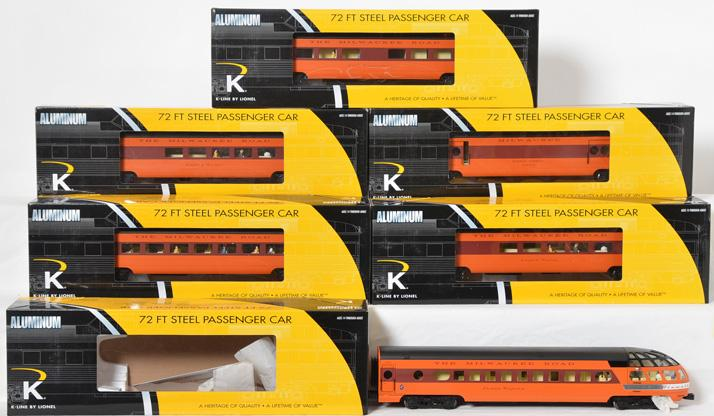 K Line by Lionel Milwaukee Road Olympian Hiawatha aluminum six car passenger set