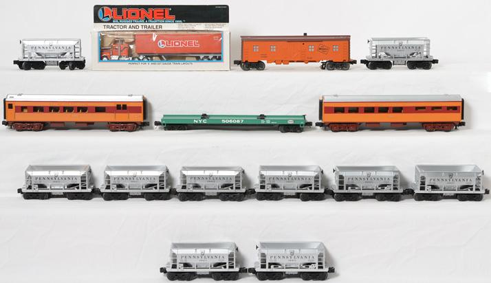 15 Lionel and MTH freight and passenger cars, Pennsylvania and Milwaukee Road
