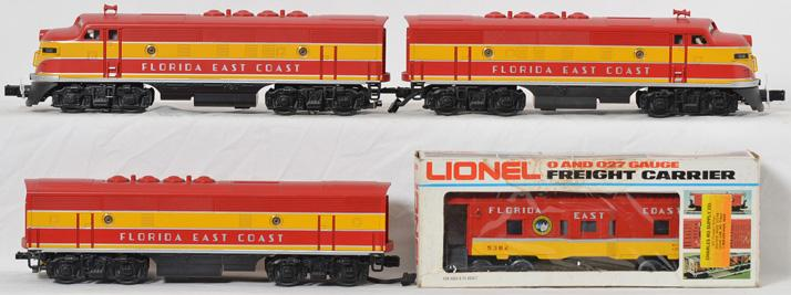 MTH 30-2310 Florida East Coast F-3 ABA Set, with Proto 2.0 and Lionel 9382 Bay Window Caboose