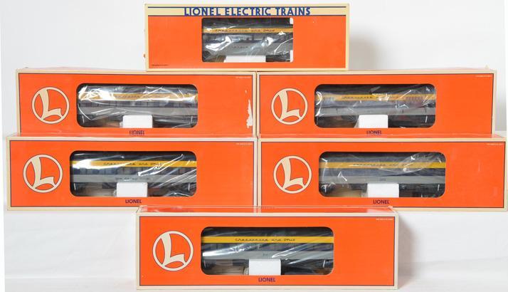 6 Lionel C&O Aluminum Passenger Cars, 19148, 19088, 19089, 19091, 29012