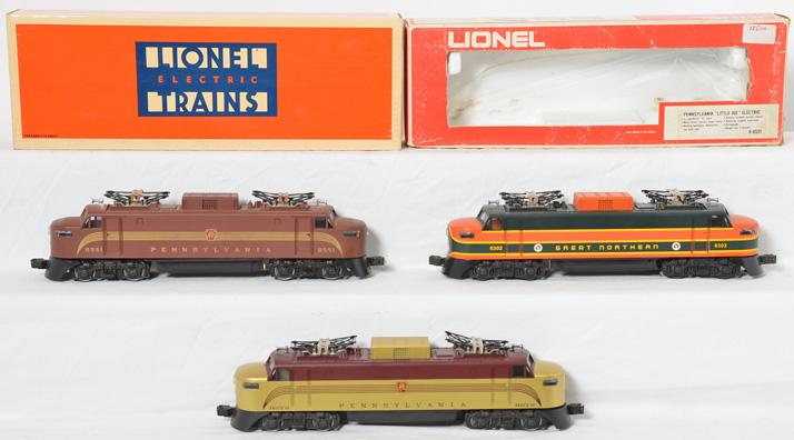 3 Lionel Great Northern, Pennsylvania electric locos 8551, 8272, 18302