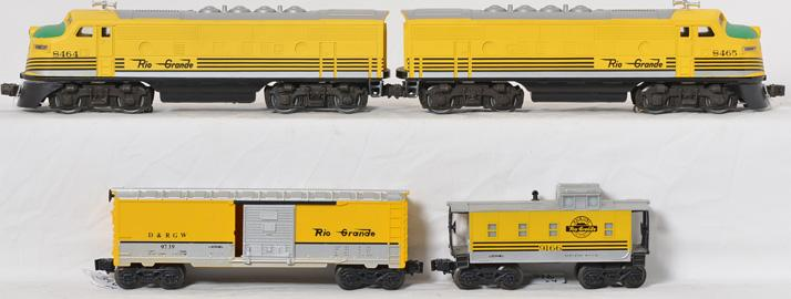Lionel Rio Grande F3 AA Units, Boxcar, and Caboose,8464, 8465, 9739, 9166