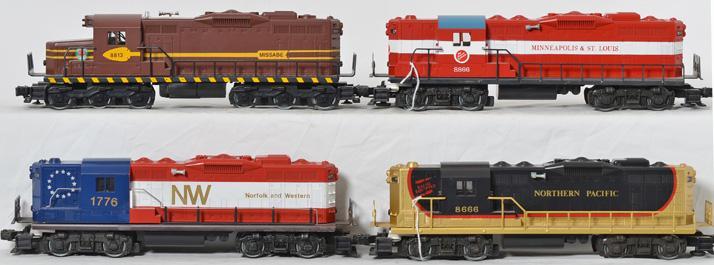 4 Lionel GP 9 Diesel Engines, 8813, 8666, 1776, 8866
