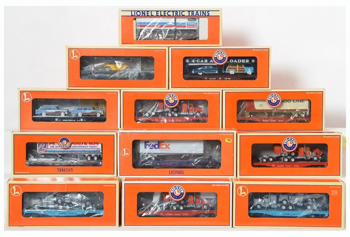 12 Lionel Flatcars with Trailers, 19440, 29414, 26057, 17571, 17522, 17888, 17548