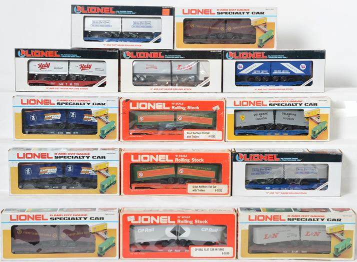 14 Lionel Flat cars with Trailers, 16303, 16307, 16314, 16330, 6631, 9222