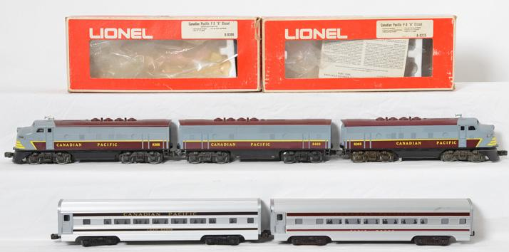 Lionel Canadian Pacific F3 ABA Diesels and MTH Aluminum Passenger Cars