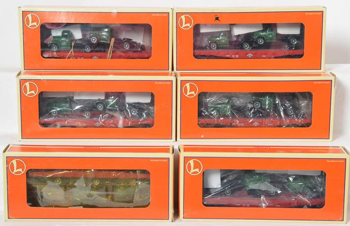 6 Lionel Diamond T Flat cars with Mack Trucks, 17534