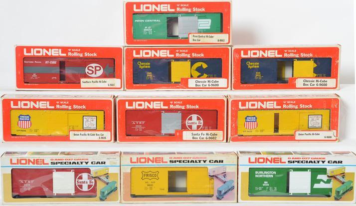 10 Lionel Hi-Cube Boxcars, 9600, 9602, 9603, 9606, 9607,9628