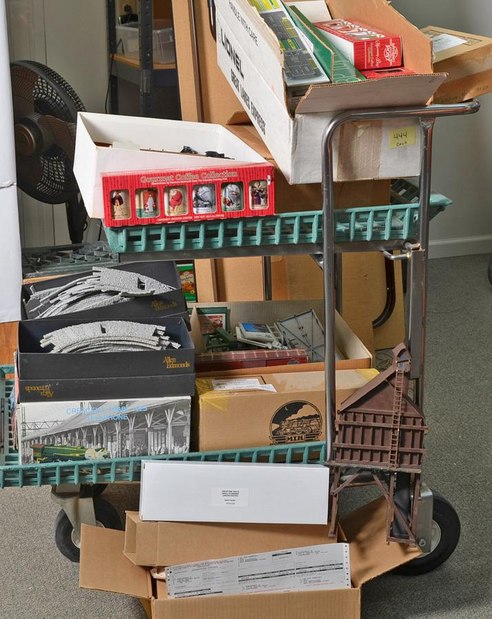 Large Cart Lot of O gauge Freight Cars, Die Cast Tractor and Trailer, Memorabilia