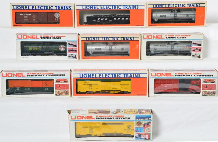10 Lionel FARR Freight Cars, 6304, 9819, 6104, 9887, 6306, 9367