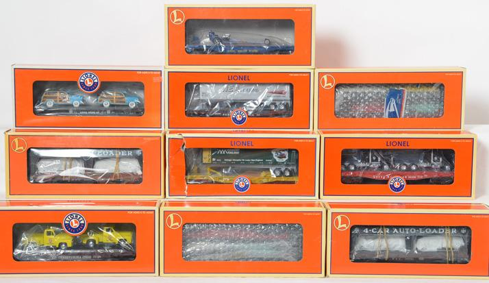 10 Lionel Flat cars and Auto Loaders, 52397, 26098, 19489, 17588, 38043