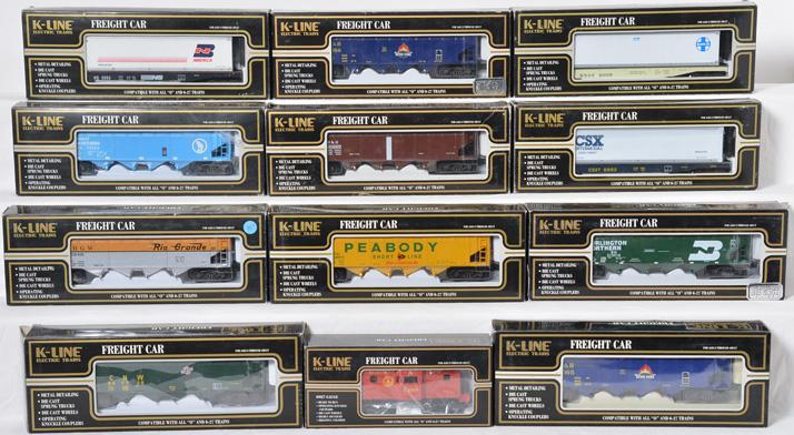 12 K Line Freight Cars, 6995, 6992, 1094, 1452, 1491, 1092, 1151
