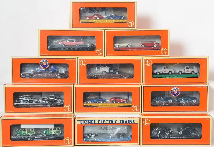 12 Lionel Flat Cars, 36090, 17551, 17527, 17529, 17560, 16910