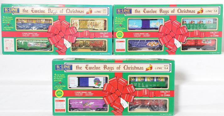 K Line 12 Days of Christmas O gauge freight cars, 62464-65-63