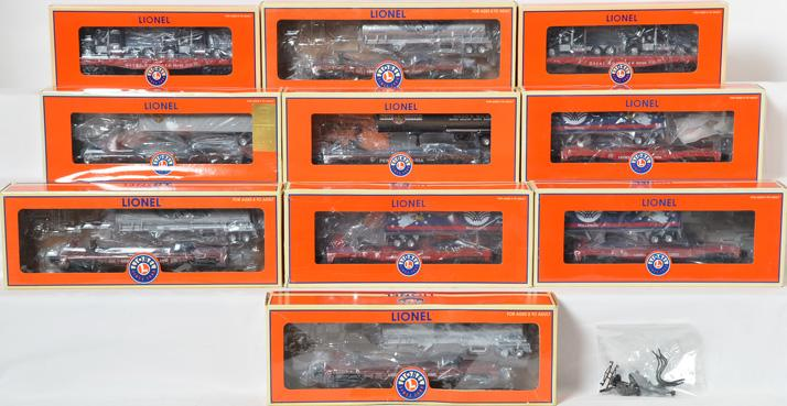 10 Lionel Flat Cars with Trailers, 27561, 39442, 39475, 52296